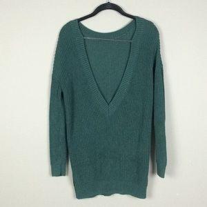 Forever 21 l Long Deep V Back Green Sweater